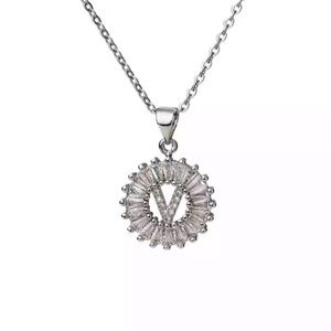 Silver Initial Crystal Pendant Necklace A-Z